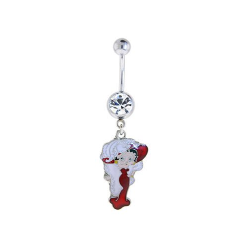 Betty Boop Belly Ring Dangle Jewelry Clear Gem Betty Boop Dangle with Feather Hat