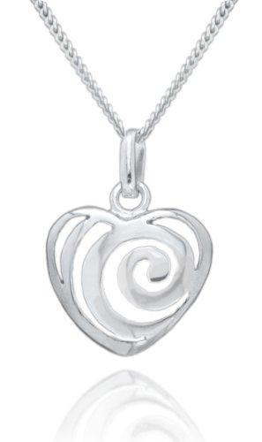 Silver Swirl Heart Pendant 46cm Chain