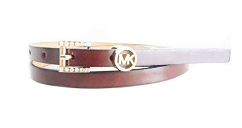 Michael Kors Mk Crystal Logo Chocolate Brown Faux Leather Gold Buckle Skinny Thin Belt 1/2 Inch Ladies Size X-Large