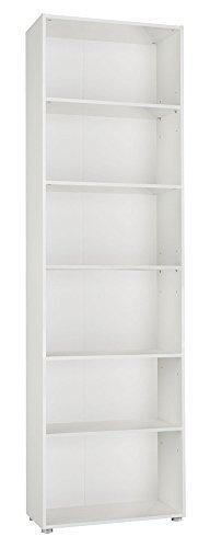 Libreria scaffalatura legno alta sei vani modulare bianco LB2837 L70h236p30