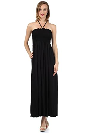 Sakkas 5026 Comfortable Jersey Feel Solid Color Smocked Bodice String Halter Maxi / Long Dress - Black / Small
