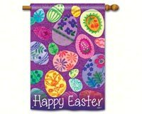"Eggstravaganza Happy Easter House Flag Bright Easter Egg 28"" x 40"""