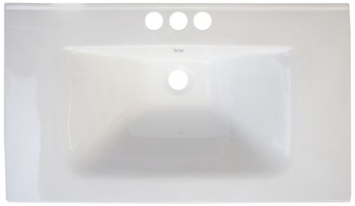 American Imaginations 427 24-Inch by 18-Inch White Ceramic Top with 4-Inch Centers