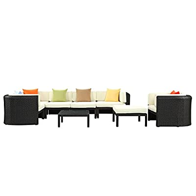 LexMod Bonaire Outdoor Wicker Rattan Sectional Sofa Set