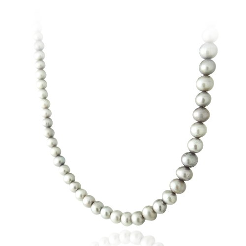 Sterling Silver 5.5-6mm Genuine Freshwater Cultured Gray Pearl Necklace, 18-inch