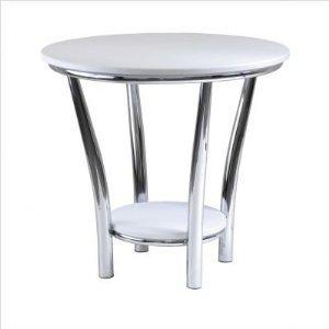 Cheap Maya Round End Table, White Top, Metal Leg By Winsome Wood (B00563MAJA)