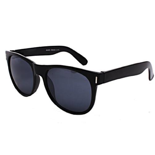 スタンダード ウェリントン型 サングラス UV400 メンズ レディース(ブラック)