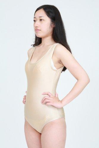 ツルツルニット 生地 露出対策 レオタード 肌色 (KN13) 女性LLサイズ