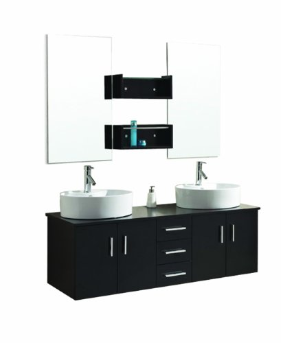 Virtu USA UM-3053-ES Enya 60-Inch Wall-Mounted Double Sink Bathroom Vanity with Ceramic Basins, Chrome Faucets, Espresso Finish