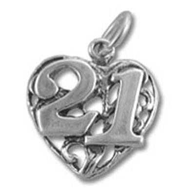 21st Birthday Heart Sterling Silver Charm