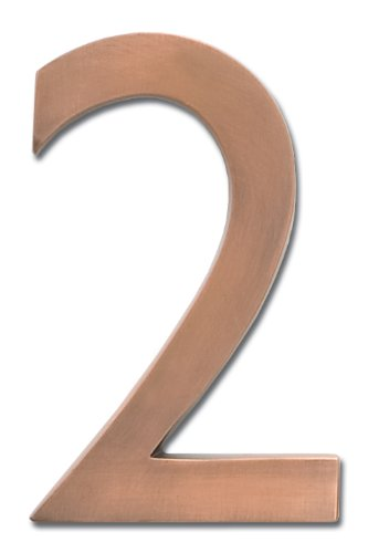 Architectural Mailboxes 3585AC-2 Brass 5-Inch Floating House Number 2, Antique Copper (House Numbers Copper compare prices)