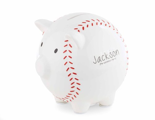 Mud Pie Personalizable Bank, Baseball (Discontinued by Manufacturer)