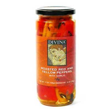 Divina Roasted Peppers with Garlic - pack of 4