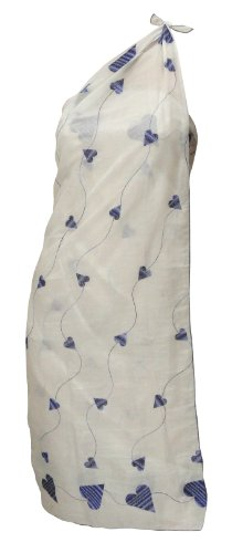La Leela White Sweet-heart Chain Stitched Embroidered Beach Swim Sarong Pareo Valentine's Day Gift