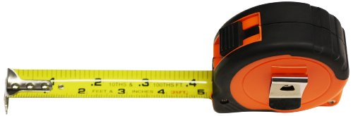 AMPRO T19538 25-Feet by 1-Inch Tape Measure Combination 10Tths and-Inch Neon Orange