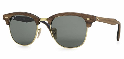 Ray-Ban RB3016M Clubmaster Wood Unisex Sunglasses (Brown Wood Frame/Green Polarized Lens 118158, 51)