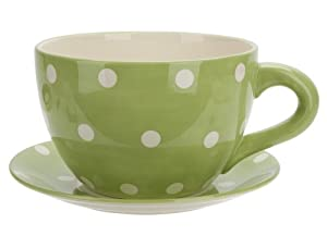 Ethos Spot Pots Giant Cup And Saucer Planter Green Kitchen Home