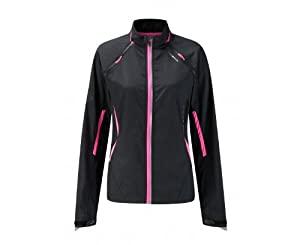 Ronhill Women's Vizion Rip Zip Jacket - Black/Flou Pink, 12 UK