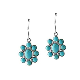 Turquoise Flower Earrings in Sterling Silver