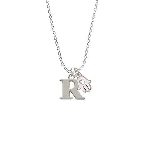 Large Initial - R - Hamsa Hand Sophia Necklace