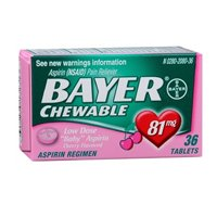 Bayer Chewable Low Dose Baby Aspirin Cherry Flavor 36 Tablet