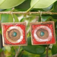 Chilean Handcrafted Square Copper Earrings with Enamel