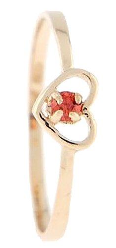 10 Karat Gold January Garnet Cubic Zirconia Child Birthstone Ring Size (3)