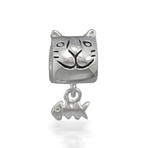 Bling Jewelry 925 Sterling Silver Kitty & Fish Bone Animal Barrel Bead Pandora Chamilia Biagi Troll Compatible