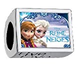 Custom Disney Movie 3D Cartoon Frozen Anna And Elsa Live Love Laugh Silver Plated Photo Charm