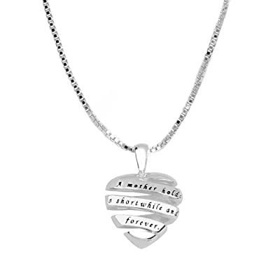 "Sterling Silver ""A Mother Holds Her Childs Hand For A Short While And Their Hearts Forever"" Open Heart Pendant, 18"": Jewelry"