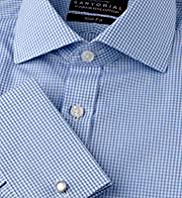 "2"" Longer Sartorial Slim Fit Pure Cotton Gingham Checked Shirt"