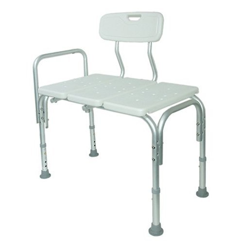 MedMobile Bath Transfer Bench from Wheelchair into Bathtub with Hand Rail and Back Support