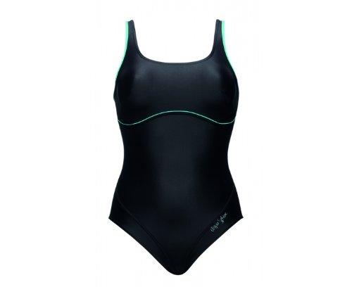 AQUA SPHERE Ladies Witsunday Swimsuit, Black/Turquoise, 38in