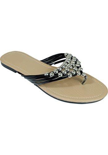Peach Couture Womens Metal Beaded V-Straps Flip Flop Flat Thong Sandal Black 10