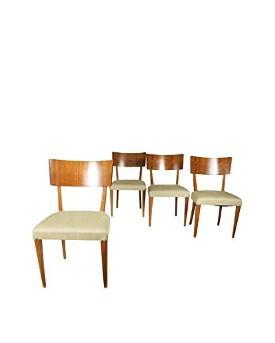 Set of 4 Rosewood Dining Chairs, Brown/Green