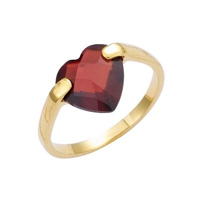 18K Gold Plated Red Cubic Zirconia Facet Heart Band Ring - Size 5
