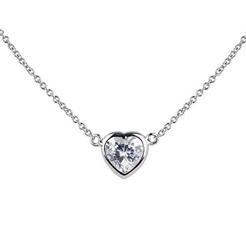[ジュエリーキャッスル] Jewelry Castle ネックレス 1カラット ハートカット 一粒ベゼルネックレス CZダイヤモンド (キュービックジルコニア)