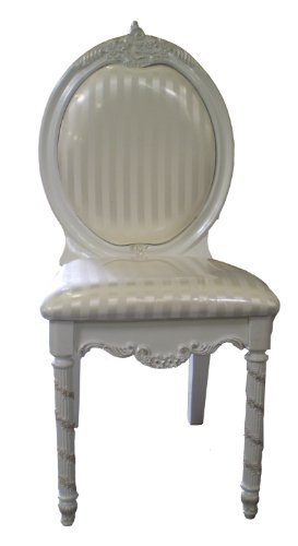 Decorative Pearl White Finish Desk Vanity Bedroom Chair