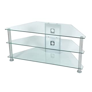 Levv Glass Stand For Plasma & LCD TV Up to 42-inch - Clear Glass with Silver Finished Legs