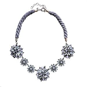 Grey Chain Crystal Floral Bib Statement Necklace - Great Quality