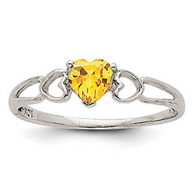 Genuine IceCarats Designer Jewelry Gift 14K White Gold Citrine Birthstone Ring Size 6.00