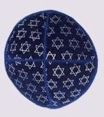 Suede Kippot kippah kipa kipah yarmulke yarmulka head covering - Star of David Black & Gold