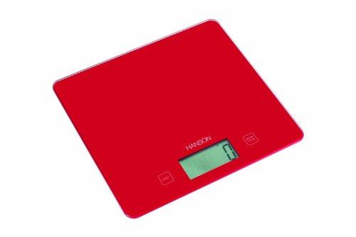 Hanson Balance électronique de cuisine avec mesure des liquides Surface en verre Rouge Capacité 5kg