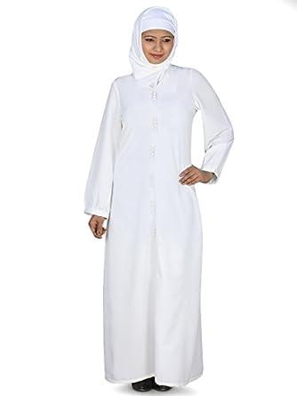 Azzeza Hajj Prayer Abaya Islamic Dress in White (Medium): Clothing