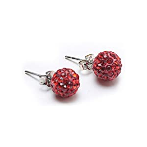 Bling Jewelry Shamballa Inspired Stud Earrings Red Crystal Pave 925 Silver