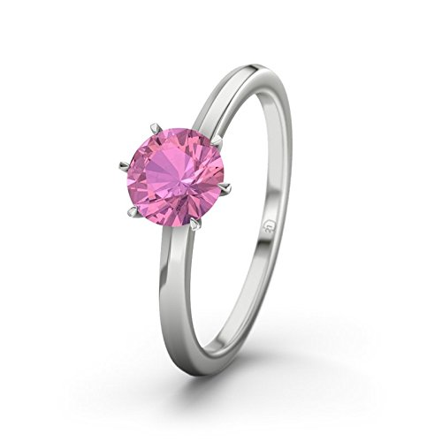 21DIAMONDS Women's Ring Kentucky Pink Tourmaline Brilliant Cut Engagement Ring - Silver Engagement Ring