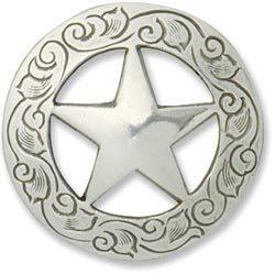 """Bulk Buy: Leather Factory Texas Star Concho Small 1 1/8"""" Screwback Silver Finish 1137301 (3-Pack)"""