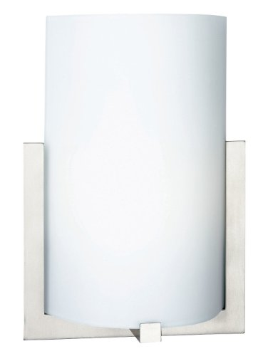 Forecast Lighting F5412-36 Bow One-Light Ada Wall Sconce With Etched Glass, Satin Nickel front-1055073