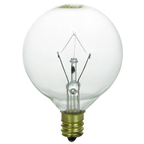 Sunlite 25G16.5/CL/3 Incandescent 25-Watt, Candelabra Based, G16.5 Globe Bulb, Clear