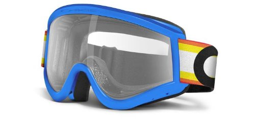 Oakley E-Frame MX Goggles with Clear Lens (Blue Victory Stripes)